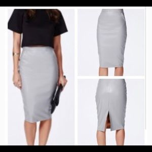 Missguided Mariota Grey Faux Leather Pencil Skirt